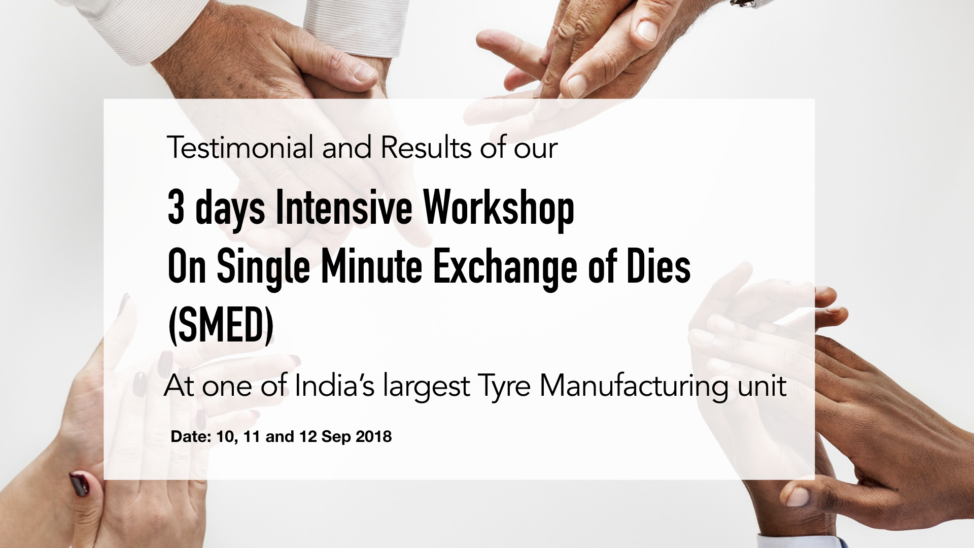 Results of SMED workshop (Single Minute Exchange of Dies)